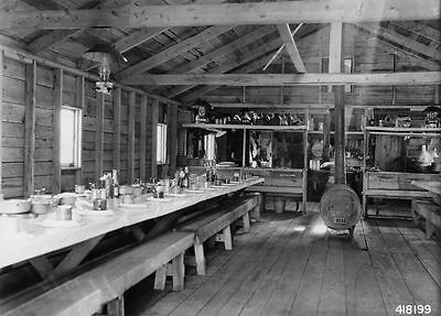 Photograph of Mess Hall at a Logging Camp, 1937, Minnesota Cabin, Loggers