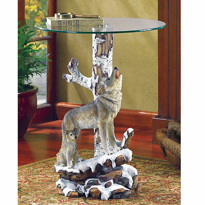 Accent Plus Winter Wolf Glass Table Top Decorative Accent Furniture