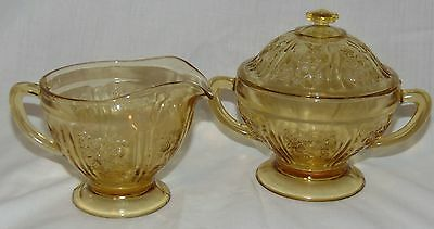 Federal SHARON/CABBAGE ROSE * AMBER* FOOTED CREAMER & SUGAR w/LID*