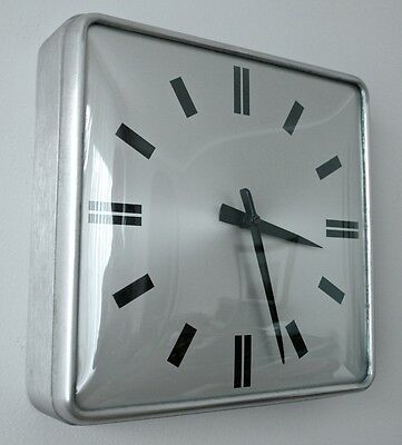 """Vtg SIMPLEX Brushed Metal & Bubble Glass Electric Wall Clock SCHOOL OFFICE 12"""""""