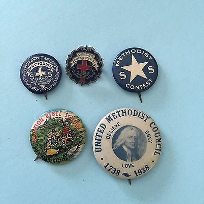 NICE! Lot of 5 RELIGIOUS Pinbacks Vintage Pins American Old Christian