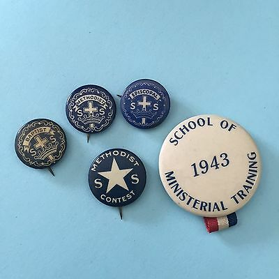 NICE! Lot of 5 RELIGIOUS Pinbacks Vintage Pins American Old Christian 1943