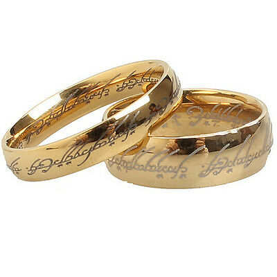 4mm 6mm Stainless Steel Lord of Rings LOTR Ring Gold Plated Cocktail Wedding