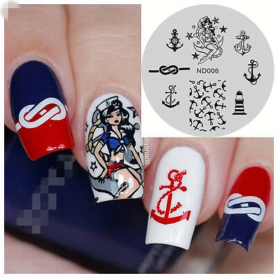 NICOLE DIARY Nail Art Stamping Plate Beauty Girl Anchor Image Stamp Template 006
