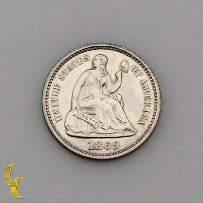 1869 US Seated Liberty Half Dime Proof, Good Luster!
