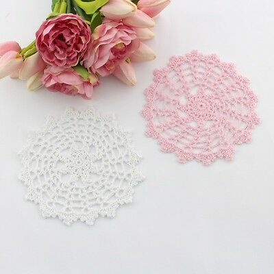 Crochet doilies white and light pink 16 - 18 cm for millinery and crafts