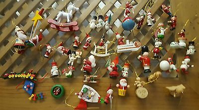 Vintage Wooden Christmas Ornaments, Variety, Large Asst Lot