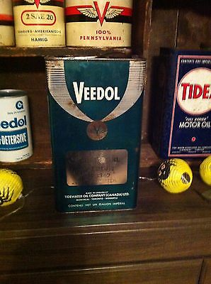 Rare Veedol Imperial Gallon Motor Oil Can Tidewater Canadian