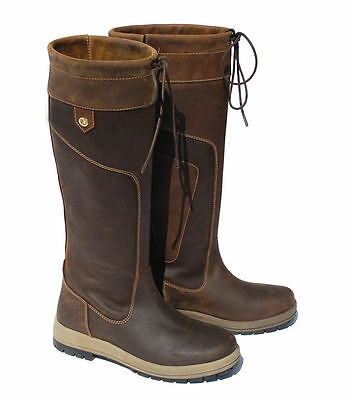 Rhinegold 'ELITE'Vermont Long Leather Country Boots-Waterproof-Brown-Free P&P