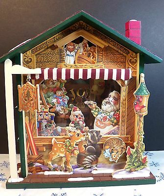 Vintage Musical Wooden House Animated Joy The  Christmas Shop Collectible