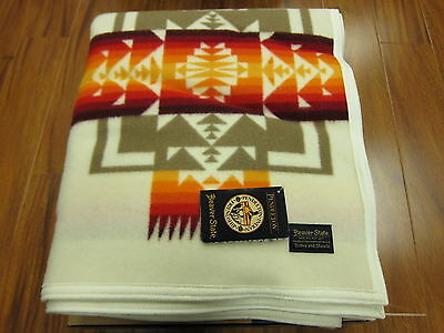Pendleton Chief Joseph Collection Blanket Ivory 64x80 Made in USA
