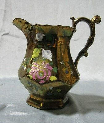 """Copper Luster Ware Pitcher w/ Hand Painted Floral Design 5.5"""""""