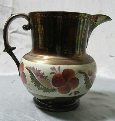 """Antique 7"""" Copper Luster Pitcher with Floral  on White Band Design"""