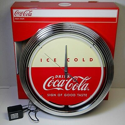New Coca-Cola NEON Light CLOCK Ice Cold Coke 1950s Vintage Style Advertising