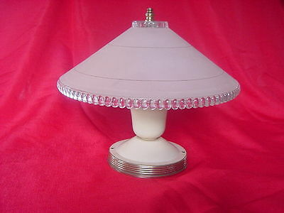 Antique Biege, clear glass art deco light fixture ceiling 1940's