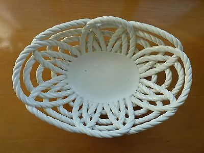White Ceramic Twisted Rope Woven Fruit Bowl Bread Basket Made In Spain