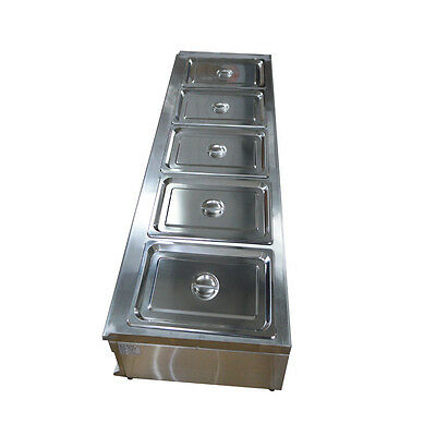57Inch 5-Pan Bain-Marie Buffet Food Warmer Kitchen Equipment 5*1/2Pans