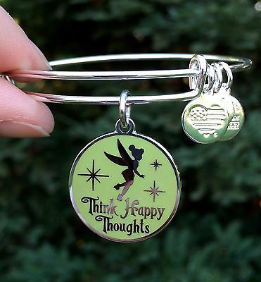 Silver Tinker Bell Think Happy Thoughts Alex and Ani Bracelet Disney Disneyland