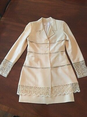 Chloe By Karl Lagerfeld Vintage 80s Cream Lace Suit Fits A 2-4