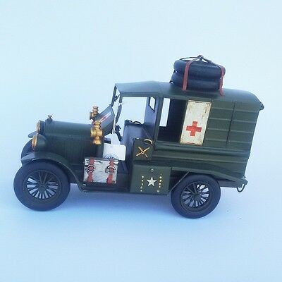 Antique Style Vintage Military Ambulance Red Cross Model