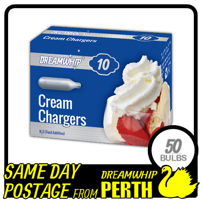 Same Day Postage Dreamwhip Cream Bulbs 10 Pack X 5 (50 Chargers) Whipped N2O