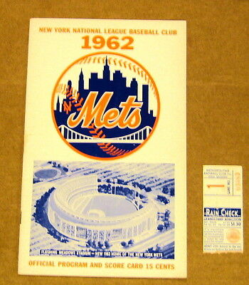 April 13 1962 New York Mets Opening Game Program And Ticket Stub Extremely Rare