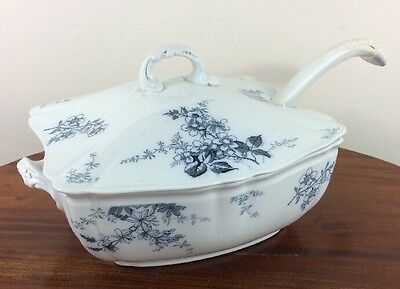 Fabulous Antique Alfred Meakin Soup Tureen & Ladle, Blossom Pattern