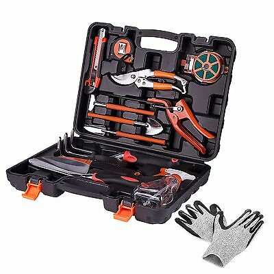 12 PCS Durable Garden Hand Tools Gift Set Stable Molded Toolbox Medium Glove