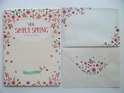 Writing Set Note Pad Paper & Envelopes New Stationery Set Floral Simply Spring