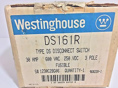 New! Westinghouse Type Ds Disconnect Switch Ds161R 30 Amp 600 Vac 250 Vdc