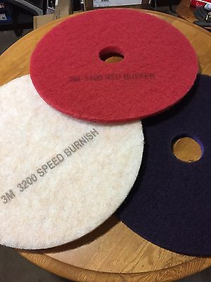 "3M Scotch-Brite Purple Diamond Floor Pad 20"" 1 Pad of White,Red,and Purple"