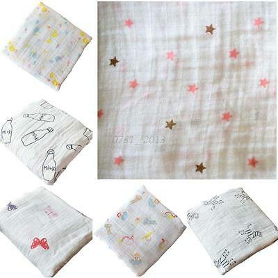 Newborn Infant Cotton Blanket Soft Muslin Baby Bedding Swaddling Swaddle Towel