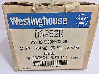 New! Westinghouse Type Ds Disconnect Switch Ds262R 60 Amp 600 Vac 250 Vdc