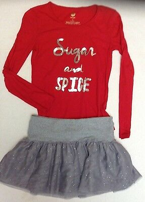 Girls Outfit JUSTICE GRAY SKIRT SIZE 16 & TOTAL GIRL TOP SIZE 14 GUC
