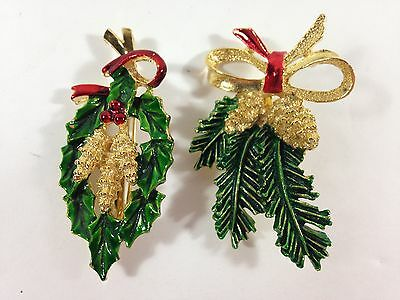 Vintage Pair Of Gerry's Enamel Pin Brooch Christmas Pine Cones, Bough And Bow