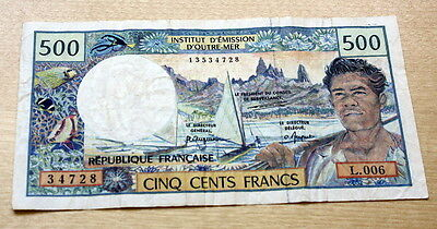 French Polynesia Tahiti New Caledonia 500 Francs P-25