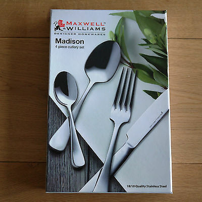 NEW Maxwell & Williams 'Madison' 4 Piece Cutlery Set Gift Boxed Stainless Steel