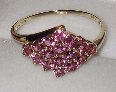 14K Yellow Gold Pink Tourmaline Diamond Shaped Cluster Ring 2.3 Grams Size 8.75