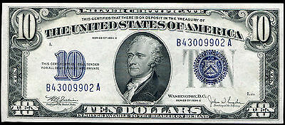 1934-C $10 Ten Dollars Blue Seal Silver Certificate Currency Note Gem Unc
