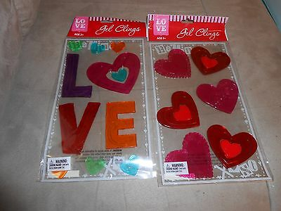 Lot of 2 Packages of Valetines Day Hearts/Love Gel Clings  - Brand NEW