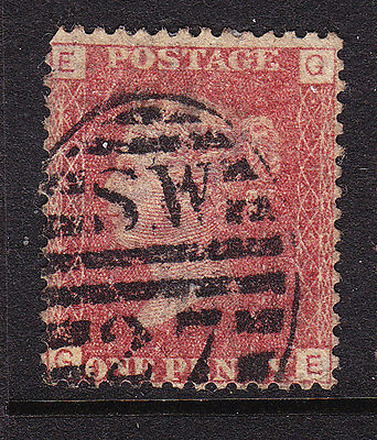 GB  1858 - QV - 1d Red Plate 154 - Position E-G