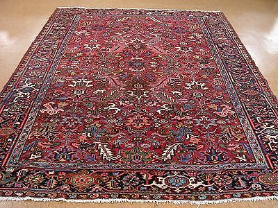 8 x 11 ANTIQUE PERSIAN HERIZ SERAPI Tribal Hand Knotted Wool RED Oriental Rug