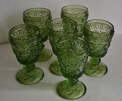 Set (6) Water Wine Green Goblets Glasses Depreciation Glass 6 ¼""