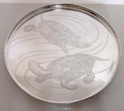 1900's Whiting Sterling Silver Salver Turtle Motif Very Very Rare