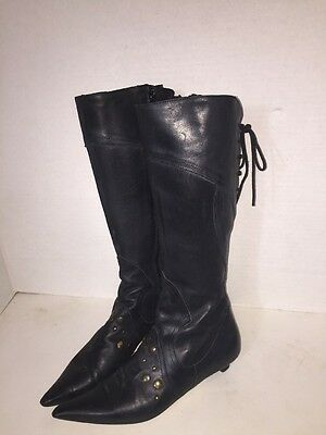PELUSO ITALY BLACK Leather Side Zip Biker Boots Lace up