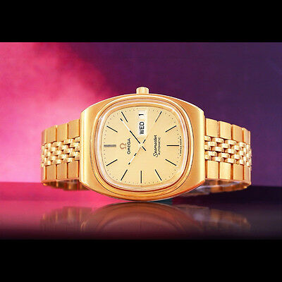 Rare Fantastic Omega Seamaster Men's Auto 18K-Gp Gold Dial Day Date Watch