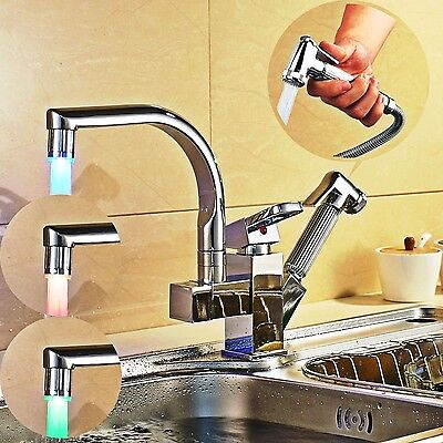 Monobloc Kitchen Taps Pull Out Sink Mixer Tap Swivel 2 Function Basin LED Chrome