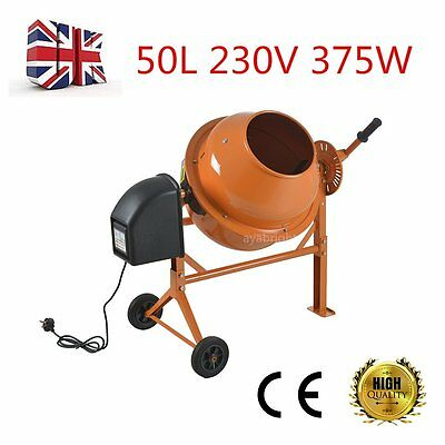 New Large Professional 50 Litres Concrete Cement Mixer With Stand & Wheels 240V