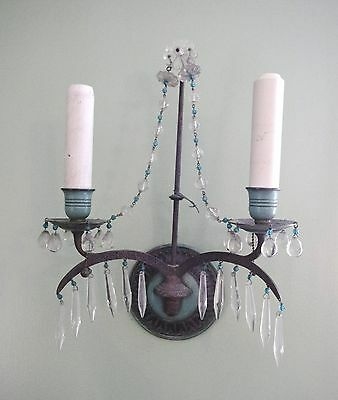 E. F. Caldwell Pair Crystal Two-Arm Sconces, Wall Lights