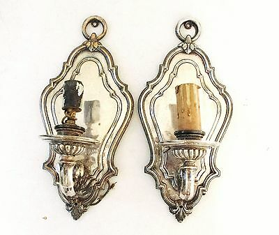 Single-Arm Silvered Bronze Pair E. F. Caldwell Sconces